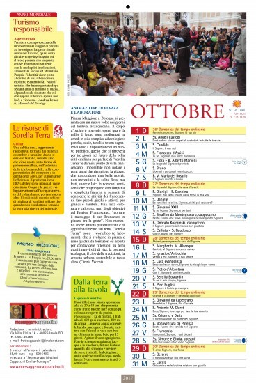 Nell'Anno Internazionale del Turismo Sostenibile indetta dall'ONU, l'Almanacco Francescano 2017 FRATE TEMPO, ci ha affidato la collaborazione di scrivere delle pillole sul turismo responsabile tutti i mesi dell'anno.