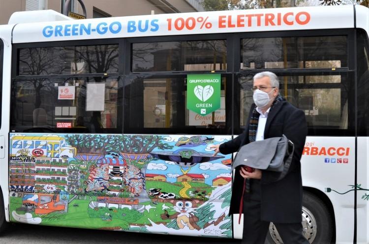 Preparandoci ad incontrare Giorgio Erbacci illustro ai miei colleghi il disegno riportato sulla fiancata del Green-Go Bus frutto di un concorso indetto da Viaggi Erbacci che ha visto vincere un ragazzo autistico.