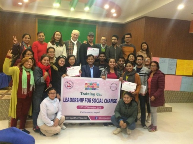 "Training ""LEADERSHIP FOR SOCIAL CHANGE"" (15-16 Novembre) organizzato da TOGETHER FOR NEPAL in collaborazione con ENGAGE, Inclusive Change Through Volunteering, in Kathmandu."